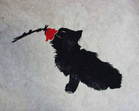 Katze-mit-Rose